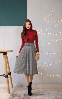 Check Print Belt Set Pleated Skirt - Korean Women's Fashion Shopping Mall, Styleonme. N Best Picture For asian fashion For Your Tast - Korean Fashion Trends, Korean Street Fashion, Korea Fashion, Asian Fashion, Trendy Fashion, Girl Fashion, Fashion Outfits, Womens Fashion, Fashion Design