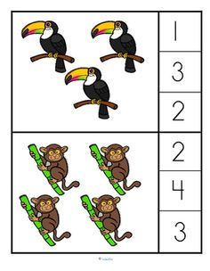 Clip a clothespin on the number that describes the rainforest animals set. 0-10. There are 21 cards – 10 sets of rainforest animals are placed in a usually seen combination (easier to count), 10 sets are placed randomly (harder to count). The numbers could also be covered with a counter. The cards are big enough to use as flashcards with a group.   Rainforest animals featured are: jaguar, sloth, toucan, tarsier, tiger, howler monkey, blue morpho butterfly, piranha, leafcutter ant and tree…