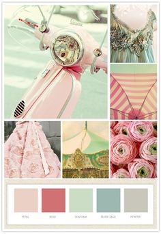 pale pink, grey, and teal and gold color palette. Lily's new room color palette