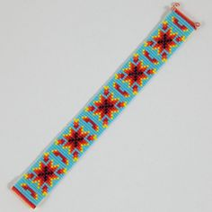 Native American Autumn Harvest Bead Loom Bracelet by PuebloAndCo
