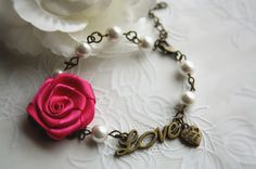 With box Antique rose love charm pearl bracelet by missvirgouk, handmade ribbon rose flower cottage chic