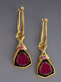 24K/18KY Gold, Watermelon Tourmaline Slice, Pink Sapphire and Diamond Earrings by Athenae Inc  ~  x