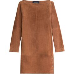 Vanessa Seward Suede Dress (€620) ❤ liked on Polyvore featuring dresses, vestidos, платья, robes, brown, brown suede dress, suede dress, brown dresses and vanessa seward