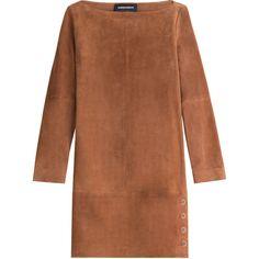 Vanessa Seward Suede Dress (2,015 PEN) ❤ liked on Polyvore featuring dresses, vestidos, платья, brown, suede dress, brown dress, brown suede dress and vanessa seward
