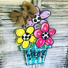 This Flower Pot with 3 flowers Wood Cut Out Door Hanger is just one of the custom, handmade pieces you'll find in our door hangers shops. Painted Doors, Wooden Doors, Door Hanger Template, Burlap Door Hangers, Hanging Flower Wall, Wooden Flowers, Painted Flowers, Wood Cutouts, Wooden Crafts