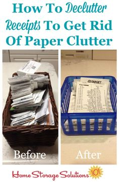 How to declutter receipts to get rid of paper clutter, including recommendations about how long to keep various types of receipts before getting rid of them {on Home Storage Solutions 101}