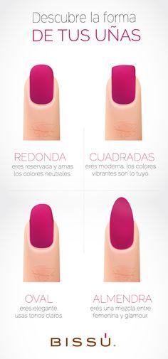 Conoce las diferentes formas de uñas y el estilo al que se asocian. http://tiendaweb.bissu.com/6-u%C3%B1as