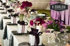 Purple and zebra striped tablescape   Wedding Photography by A Marlow Photography  www.amarlowphotography.com