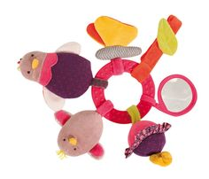 Activity Ring Rattle Chick: Pink early learning rattle with lots of play activities: a hen with a rattle in her body, a squeaky chick, a butterfly with crinkle paper in her wings, a flower that vibrates, a mirror and a dummy-clip. - Moulin Roty Les Cousins