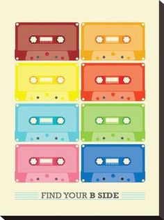 Poster print with vintage tapes illustration in multi colored cassettes - FIND YOU B SIDE. Is a modern retro Poster perfect for your home decor! Enjoy the graphic appeal of this bright and modern art typography print. Deco Retro, Retro Print, Typography Prints, Typography Poster, Vintage Posters, Retro Vintage, Modern Retro, Modern Art, Vintage Graphic