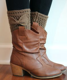 Loving this Mocha Bow Boot Cuffs on #zulily! #zulilyfinds