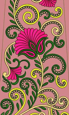 Border Embroidery Designs, Machine Embroidery Designs, Embroidery Patterns, Crewel Embroidery, Vintage Embroidery, Kerala Mural Painting, Madhubani Art, Candy Crafts, Cross Stitch Rose