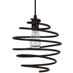 "Park Harbor PHPL5611 10"" Wide Single Light Mini Pendant with Spiral Coil Frame Painted Bronze Indoor Lighting Pendants"