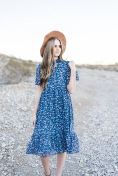 THE POSEY FLORAL CHIFFON DRESS IN NAVY