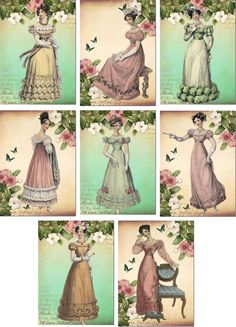 Vintage Jane Austen bola vestidos pequena nota tags cartões