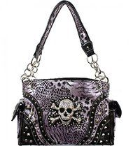Purple Leopard Print Skull Studded Conceal and Carry Purse
