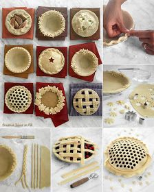 Before you bake, add a special touch to your pies -- it's the perfect way to personalize any pastry!Ingredients and EquipmentPate Brisee, fitted into pie plate, plus extra cold doughPastry brushForkCookie or aspic cuttersFluted pastry wheel Pie Crust Recipes, Tart Recipes, Dessert Recipes, Pie Crusts, Cake Ingredients, Doce Banana, Pie Crust Designs, Dessert Original, Cake Recipes