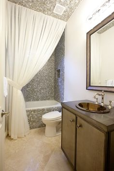 High Curtains to the ceiling in the bathroom ideas.