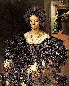 1531 Presumed Portrait of Margherita Paleologo, Duchess of Mantua by Giulio Romano (Royal Collection). This is a fascinating dress! It appears to consist of a black-and-silver or black-and-white pretzel-pattern overlay of a tan or off-shite under-garment, possibly the one providing her partlet. Her sleeves are gargantuan virago (accordion) sleeves covering banded under-sleeves. Her over-garment has a wrap around bateau neckline.