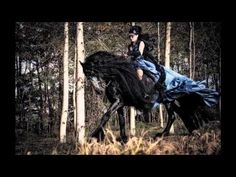 Soo want to do a photo shoot like this some day. Annathetekken Gothic Halloween backstage mistery woman & Friesian Horse - YouTube