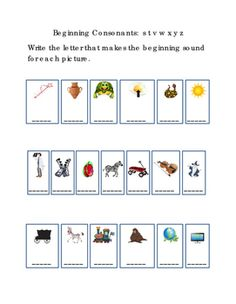 Kindergarten+Reading+Write+Beginning+Consonants+Letters+S+T+V+W+X+Y+Z+for+Each+Picture.+Tools+for+Common+Core,+Emergent+Reader.+Life+Skills.+Literacy+Printable.+Early+Intervention.+1+page.+