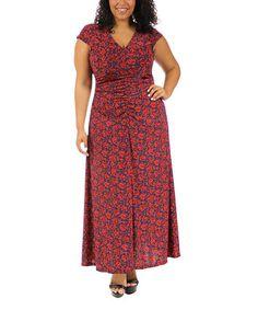 Loving this Red Floral Empire-Waist Maxi Dress - Plus on #zulily! #zulilyfinds