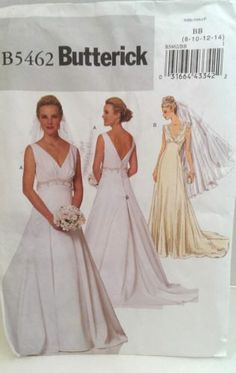 Wedding Dress Pattern Butterick B 5462 Misses BB 8 10 12 14 Bridal Gown 2 Styles | eBay