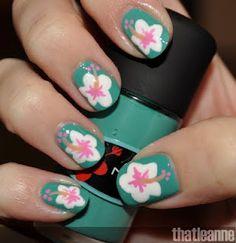 Hibiscus nail art!