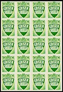 green shield stamps...my mum used to collect theses and I would help her stick them in here book, we used to save them up then trade them in for something she wanted, good old days
