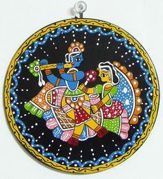 Radha Enjoying Krishna's FluteKrishna on a Swing - Wall Hanging (Madhubani Folk Art on Hardboard)) Madhubani Art, Madhubani Painting, Kids Canvas Art, Coaster Art, Indian Folk Art, Krishna Painting, Plate Art, Pen Art, Tribal Art