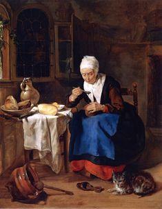 Oude vrouw eet pap, by Gabriel Metsu (Dutch, 1629-1667)