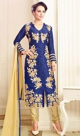 Blue Color Chanderi Embroidered Churidar Suit.    #onlinechuridarshopping #traditionalchuridardesigns Portray stylish looks draping this blue color chanderi embroidered churidar suit. The fantastic dress creates a dramatic canvas with remarkable lace and resham work.   USD $ 74 (Around £ 51 & Euro 56)