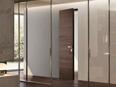 Flush-fitting wenge safety door FILOMURO by GAROFOLI