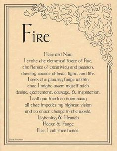 Fire Evocation Book of Shadows Page or Poster Wicca Pagan Witchcraft picclick.com