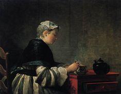 CHARDIN, Jean-Baptiste-Siméon Woman Taking Tea 1735