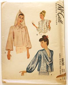 1940s Hooded Bed Jacket Pattern - Bust 28.5 to 30 McCall 6630