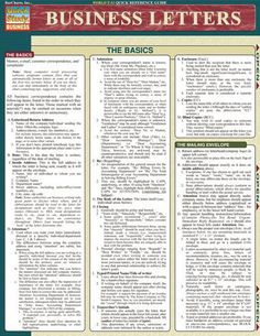 Business Letters Laminated Reference Guide Outlines the basic concepts of memos, emails, complaints and customer correspondence. Item is great for: - Academics - Individuals with a thirst for knowledg