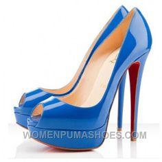 a365f3393b124 Christian Louboutin Lady Peep Toe 150mm Pumps Blue Free Shipping 6r2Cd