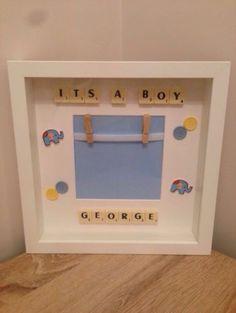 Scrabble-Art-Personalised-Frame-New-Baby-Boy-Christening-Baptism-Keepsake-Gift