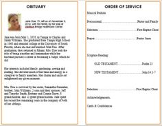 ideas for funeral service cards programs examples - Free Celebration Of Life Program Template