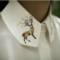 Once upon a time collection chic white long shirt with dream deer in collar