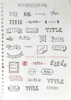 Imagen de title, doodle, and pink bullet journal titles, bullet journal doodles ideas Bullet Journal Headers, Bullet Journal Lettering Ideas, Bullet Journal Banner, Journal Fonts, Bullet Journal Notebook, Bullet Journal School, Bullet Journal Ideas Pages, Bullet Journal Inspiration, Bullet Journal Ideas Handwriting