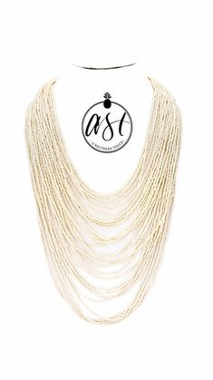 Multi Layer Beaded Necklace in Ivory | asoutherntouchsc