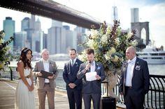 Brooklyn Bridge Park Wedding. Read more - http://www.stylemepretty.com/2014/01/15/brooklyn-bridge-park-wedding/