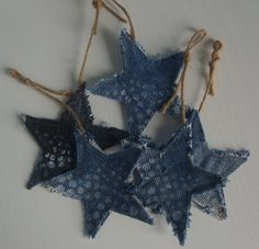 Denim christmas ornaments---make these for mom to coordinate with the banner