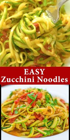 These tasty and easy Zucchini Noodles with garlic-tomato sauce make a perfect side or even main dish! You'll fall in love with this healthy treat. Healthy Noodle Recipes, Zucchini Noodle Recipes, Healthy Zucchini, Soup Recipes, Vegetarian Recipes, Cooking Recipes, Vegan Vegetarian, Courgette Recipe Healthy, Zucchini Spirals Recipes