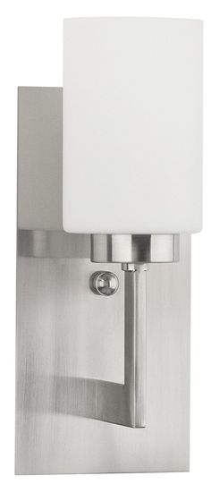Brio Wall Light Vanity Sconce Brushed Nickel with Frosted Glass Shade One-Light Bathroom Fixture - Wall Mount Lighting - 13-inch high - Linea di Liara LL-WL151-BN - - Amazon.com
