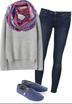 Have skinny jeans like this and similar shoes. Like the look of easily dressing up nice /casual sweater with pop of color with scarf