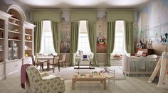 We love Guy Goodfellow Ltd's classic design for the royal nursery.  Just look at those bookshelves!
