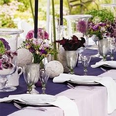 purple and silver tablescape